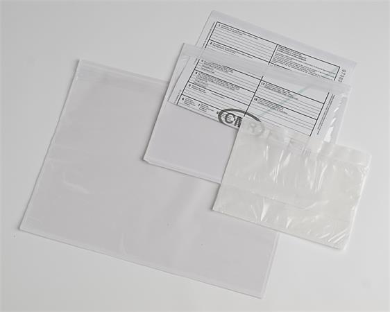 Okmánykísérő tasak / dokufix tasak, DL, öntapadós, 125x225 mm