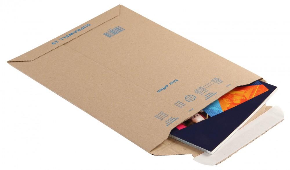 Hullámkarton boríték, 210x292x-50mm (belméret), A4, 25 DB/CSOMAG