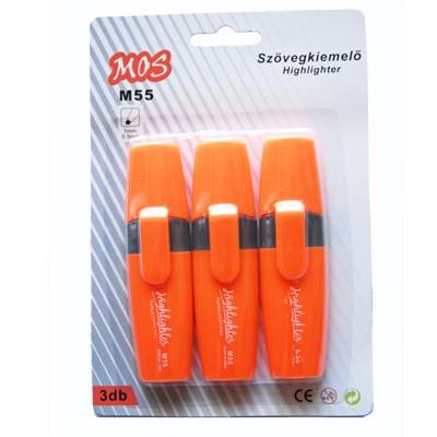 Mos M55 szövegkiemelő szett 3db/csomag narancs