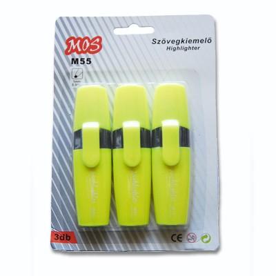 Mos M55 szövegkiemelő szett 3db/csomag sárga