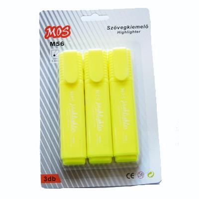 Mos M56 szövegkiemelő 3db/csomag sárga