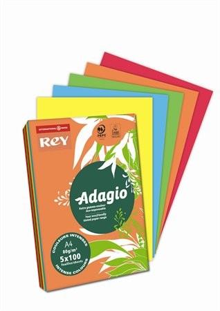 REY Adagio színes másolópapír, intenzív mix, A4, 80 g, 5x100 lap/csomag