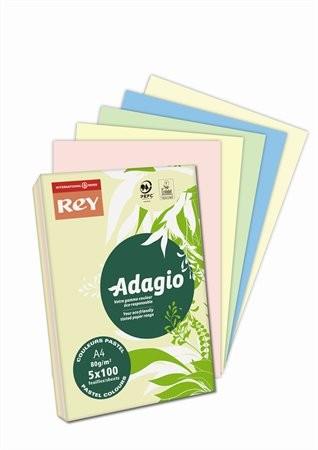 REY Adagio, pasztell mix, színes másolópapír, A4, 80 g, 5x100 lap/csomag