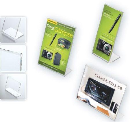 ecoPLEX szórólaptartó A4 V álló (210x297mm belméret) laptartó, víztiszta, döntött