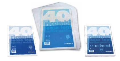 Gyűrűskönyv betét Blasetti Ricambi A5 40lap kockás fehér