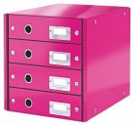 Irattároló, laminált karton, 4 fiókos, Leitz Click&Store, rózsaszín