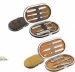 Manikűr készlet rozsdamentes acél, bőr tokban NIEMI, világosbarna (F06.1515)