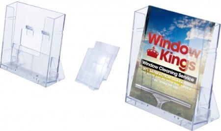 Prospektustartó Empen Balut, műanyag, állítható asztali vagy fali, A4