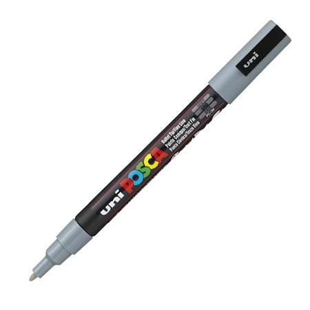 Dekormarker Uni Posca PC-3M 0.9-1.3 mm, kúpos, szürke