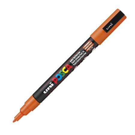 Dekormarker Uni Posca PC-3M 0.9-1.3 mm, kúpos, narancs