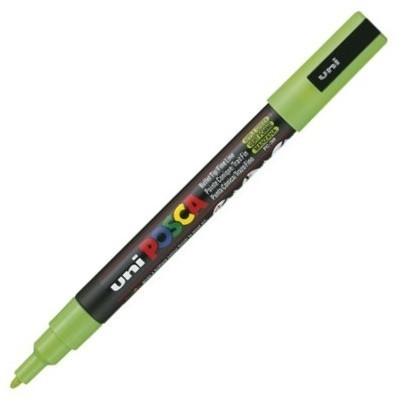 Dekormarker Uni Posca PC-3M 0.9-1.3 mm, kúpos, ALMAzöld