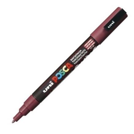 Dekormarker Uni Posca PC-3M 0.9-1.3 mm, kúpos, vörösbor (red wine 60)