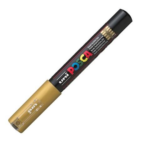 Dekormarker Uni Posca PC-1M 0.7-1 mm, kúpos, arany