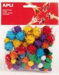 Pom-pom, csillogó, Apli Creative, vegyes színek 78 db/csom