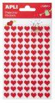Matrica, filc anyagú, Apli, piros szívek 1 ív/csom