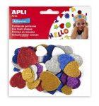 Moosgumi, öntapadó, glitteres, szívek, Apli Eva Sheets, vegyes színek 50 db/csom