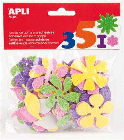 Moosgumi, öntapadó, glitteres, virágok, Apli Eva Sheets, vegyes színek 48 db/csom