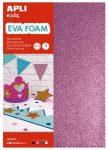 Moosgumi, 210x297 mm, A4, glitteres, Apli Eva Sheets, csillogó vegyes színek 4 ív/csom