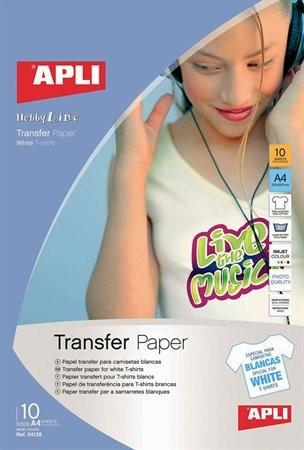 Fólia, vasalható, A4, tintasugaras nyomtatóba, fehér pólóhoz, Apli 10 lap/csom