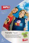 Fólia, vasalható, A4, tintasugaras nyomtatóba, sötét pólóhoz, Apli 5 lap/csom