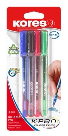 Golyóstoll készlet, 0,7 mm, kupakos, Kores K1-M, vegyes színek, 4 db/csomag (IK37154)