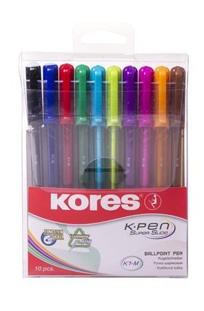 Golyóstoll készlet, kupakos, háromszögletű, Kores,vegyes, 10 db/csomag (IK37150)