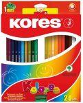 Színes ceruza készlet, hatszögletű, Kores Hexagonal, 24 különböző szín, 24 db/készlet (IK100124)