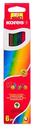 Színes ceruza készlet, háromszögletű, Kores Triangular, 6 különböző szín, 6 db/készlet (IK100306)