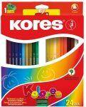 Színes ceruza készlet, háromszögletű, Kores Triangular, 24 különböző szín, 24 db/készlet (IK100324)