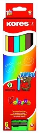 Színes ceruza készlet, háromszögletű, vastag, Kores Jumbo, 6 különböző szín, 6 db/készlet (IK93506)