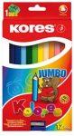 Színes ceruza készlet, háromszögletű, vastag, Kores Jumbo, 12 különböző szín, 12 db/készlet (IK100712)