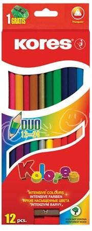 Színes ceruza készlet, kétvégű, háromszögletű, Kores Duo, 12 különböző szín, 12 db/készlet (IK100612)