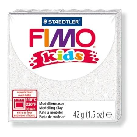 Gyurma, 42 g, égethető, Fimo Kids, glitteres fehér (FM8030052)