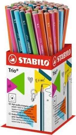 Ceruza, 2B, háromszögletű, vékony, Stabilo Trio, olajzöld test (369/2B)