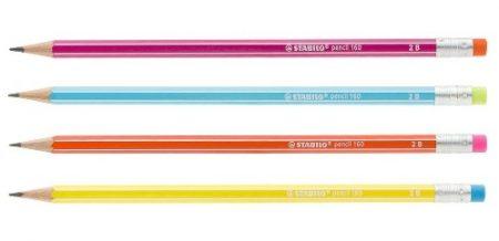 Ceruza radírral, 2B, hatszögletű, Stabilo Pencil 160, pink TEST (2160/01-2B)