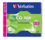 CD-RW lemez, újraírható, SERL, 700MB, 8-12x, normál tok, Verbatim (43148)