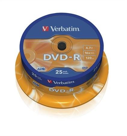 DVD-R lemez, AZO, 4,7GB, 16x, hengeren, Verbatim (43522) 25 db/csomag