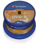 DVD-R lemez, AZO, 4,7GB, 16x, hengeren, Verbatim (43548) 50 db/csomag