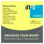 Öntapadós jegyzettömb Info Notes 75x75 mm 100 lapos neon sárga (5654-34)