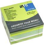 Öntapadós jegyzettömb Info Notes 75x75 mm 450 lapos neon zöld mix (5654-61)
