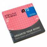 Öntapadós jegyzettömb Info Notes kockás 75x75 mm 80 lapos neon rózsaszín (5654-32-K)